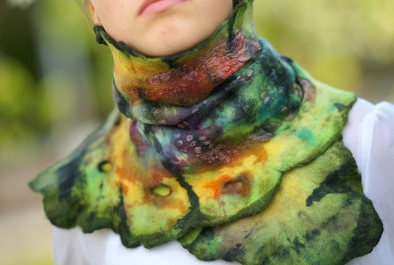 Felted Scarf  Wool and Silk Shawl Multicolor Aligator