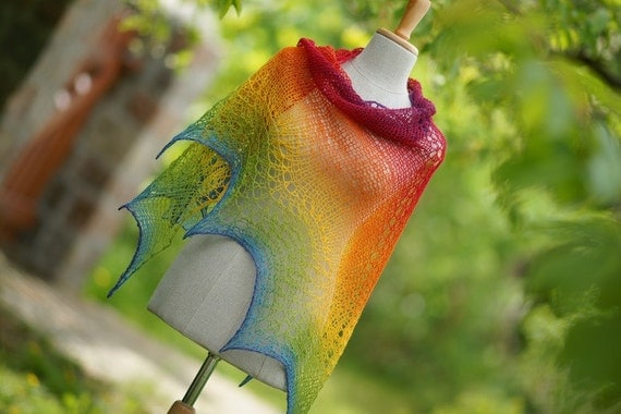 Grand Lace rainbow  wool shawl multicolor