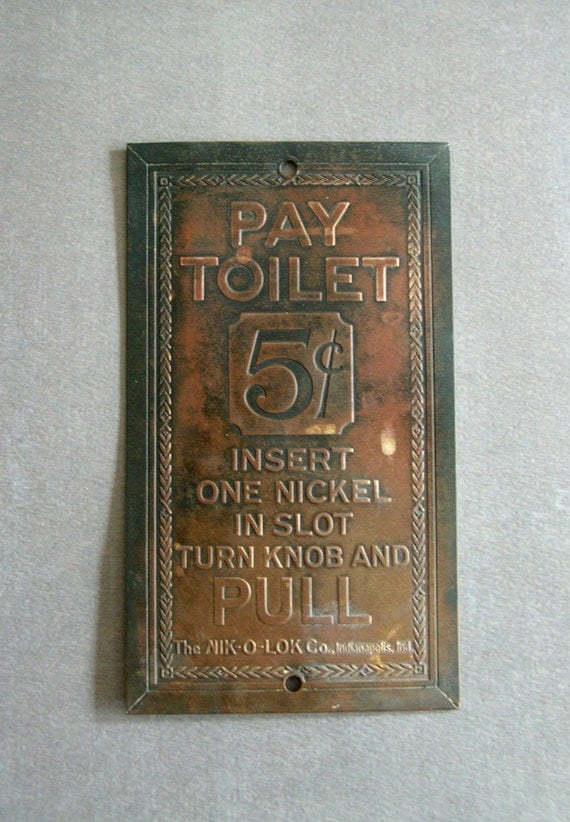 Items Similar To Vintage 1940 S Pay Toilet Sign From The