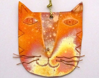 Cat Ornament Copper Kitten Decoration
