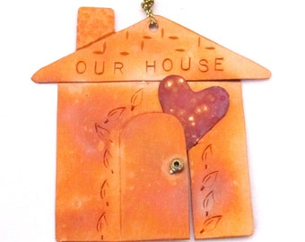 Our House Copper Ornament with Heart - Valentine's Day