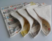 "ORGANIC eco-friendly washcloths - set of 4 in ""Woodland"" (organic fabric & organic terry domestically made GOTS certified)"