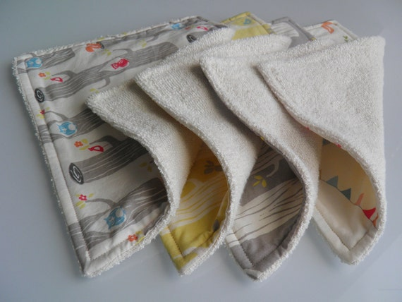 """ORGANIC eco-friendly washcloths - set of 4 in """"Woodland"""" (organic fabric & organic terry domestically made GOTS certified)"""