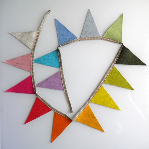 FIERCE TRIANGLES eco-friendly nursery & party decoration / flag bunting / photo prop from European Heathered Wool Felt (made to order)