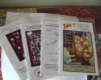 Set of 4 Quilt Patters Pennsylvania Fielsdstones, Take 5, Party on the Block, Hopscotch Too