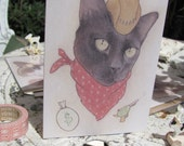 Sid the Kid, cat cowboy card by Lilly Piri for A Happy Death
