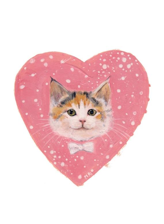Valentine kitten cat postcard  Valentine's day kitty heart with bowtie card