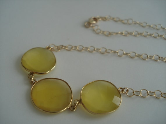 Lemon Jade Necklace. Yellow Jade Necklace. Gold Necklace