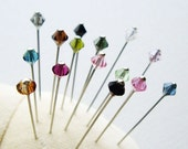 Rainbow Colours Swarovski Crystal Mini Pins/ Sewing Pins/ Scarf Pins Hijab Pins