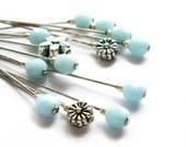 Aqua Blue Flower Decorative Sewing Pin Set of 13