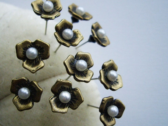 Brass Flower Push Pins Decorative Sewing Pins Pin Toppers