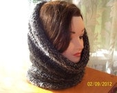 Edwardian Grey Heather- handknitted Hood/Cowl or Snood-Free Shipping