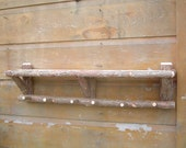 4ft Rustic Cedar Log Cabin Shelf and Coat Rack reserved for Rebecca Hudson