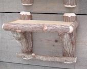 Rustic Cedar Wood Log Cabin Shelf Handmade for you!