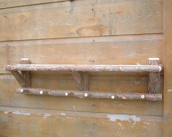 Rustic Cedar Log Cabin Shelf and Coat Rack