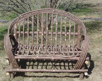 Twig Furniture Handcrafted Handmade Rustic Cedar Settee Log Home Indoor Outdoor Furniture Lawn Porch Deck