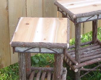 Rustic Cedar Bed Side Tables W/Birch Accents