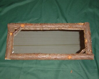 Rustic Cedar Bark Hall Mirror