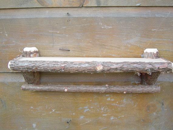 Rustic Maine Cedar Log Bathroom Shelf w/bar