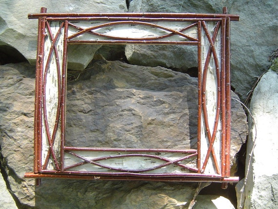 Rustic White Birch Bark And Twig Picture Frames