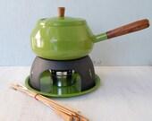 Vintage Avocado Green Fondue Pot with Original Box