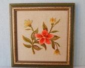 Vintage Hand Embroidered Crewel Work Flower Art Wall Hanging