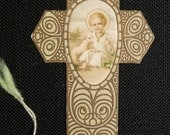 Antique holy card SHAPE OF THE CROSS CHILD JESUS WITH LAMB religious prayer