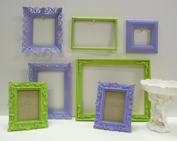 Lot of 7 assortment of frames PURPLE AND GREEN grouping victorian elegant fancy