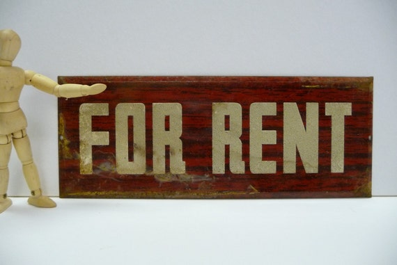 Vintage FOR RENT  sign tin metal rusty red