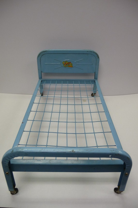 Vintage Metal Bed With Casters Mattress Doll E Amsco Light