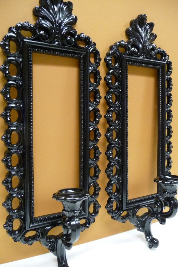 Two wall candle sconces mirrors ORNATE BLACK by SalvageRelics