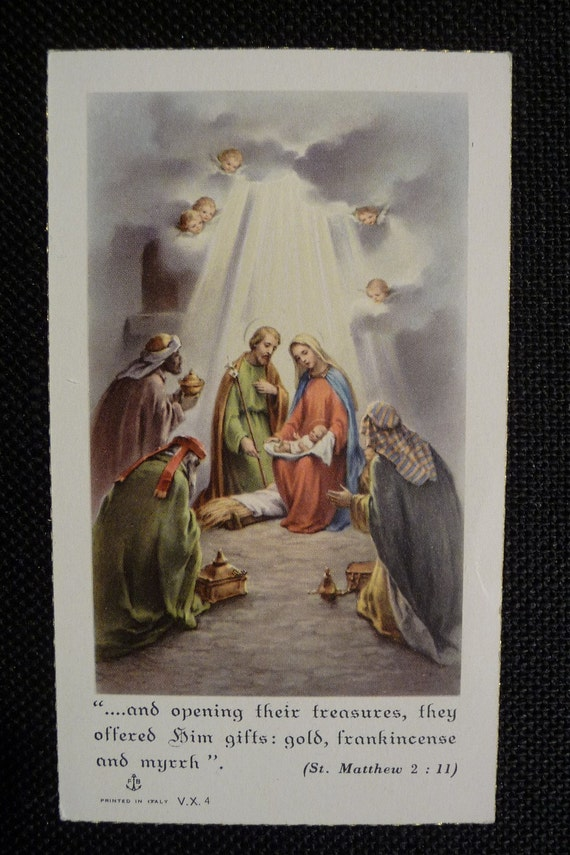 vintage holy card nativity scene with three wise men kings