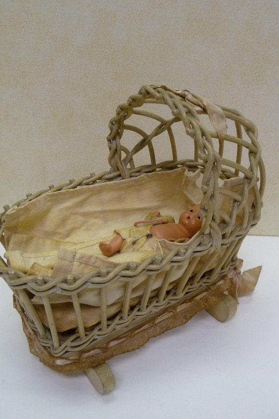 Antique Wicker Cradle With Baby And Bedding Story Book Doll