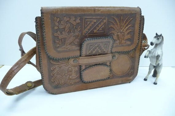 Vintage leather tooled Purse Indian Mexico Aztec Rustic