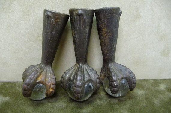 3 Antique Metal Feet Talon With Glass Ball Piano By