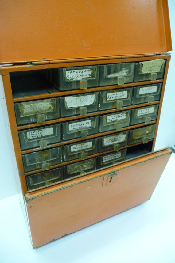 Orange tool organizer Industrial storage Hardware Metal cabinet Wall mount