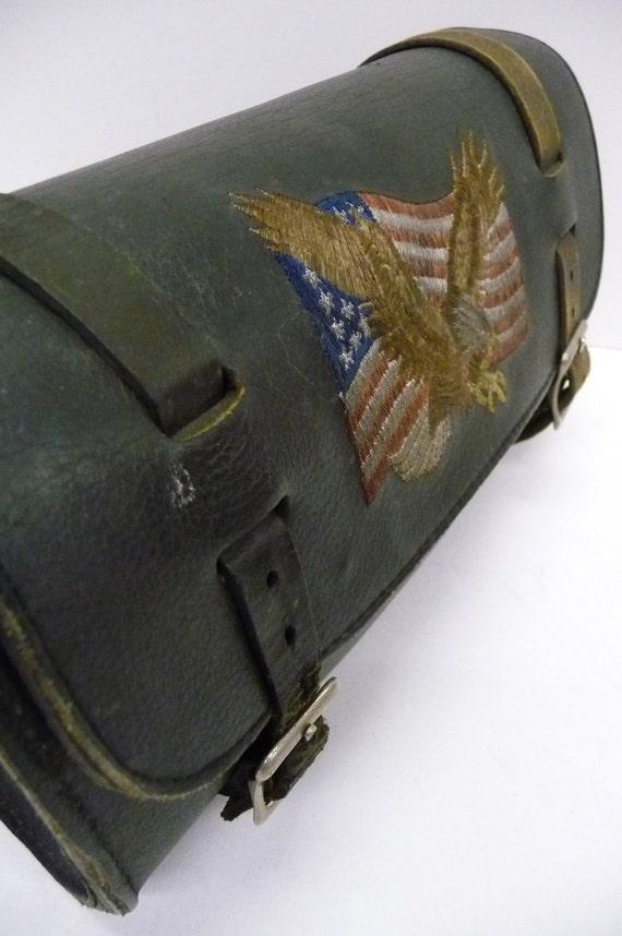 Vintage Tool Bag Black Leather Motorcycle Harley Eagle