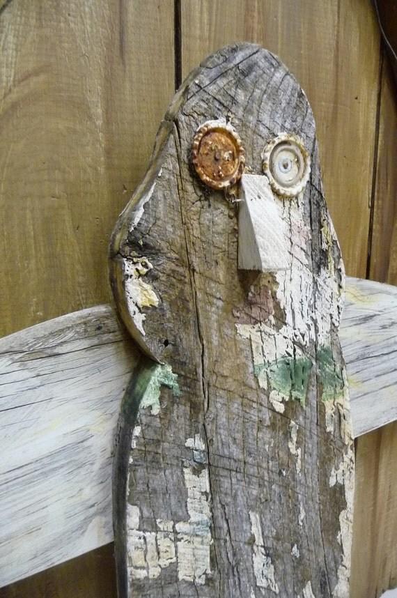 Vintage Owl Folk Art primitive wood handmade Salvaged barn wood Chippy paint