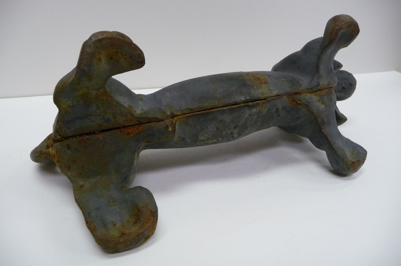Vintage Cast Iron Dachshund Boot Scraper Black By