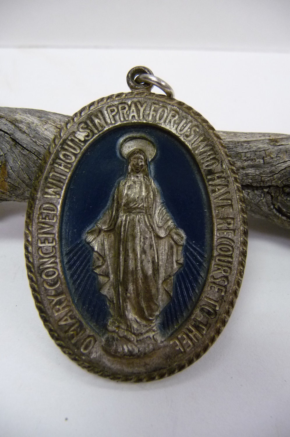 Large Antique Miraculous Medal Blessed Mother Religious