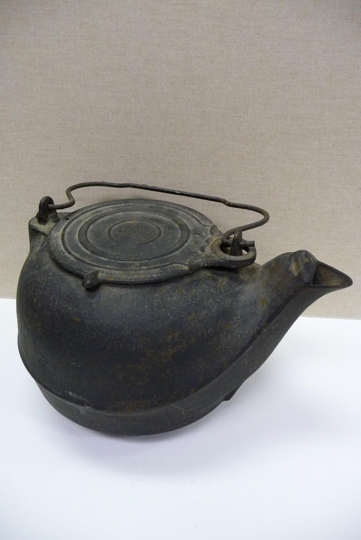 Antique cast iron tea kettle number coffee pot primitive