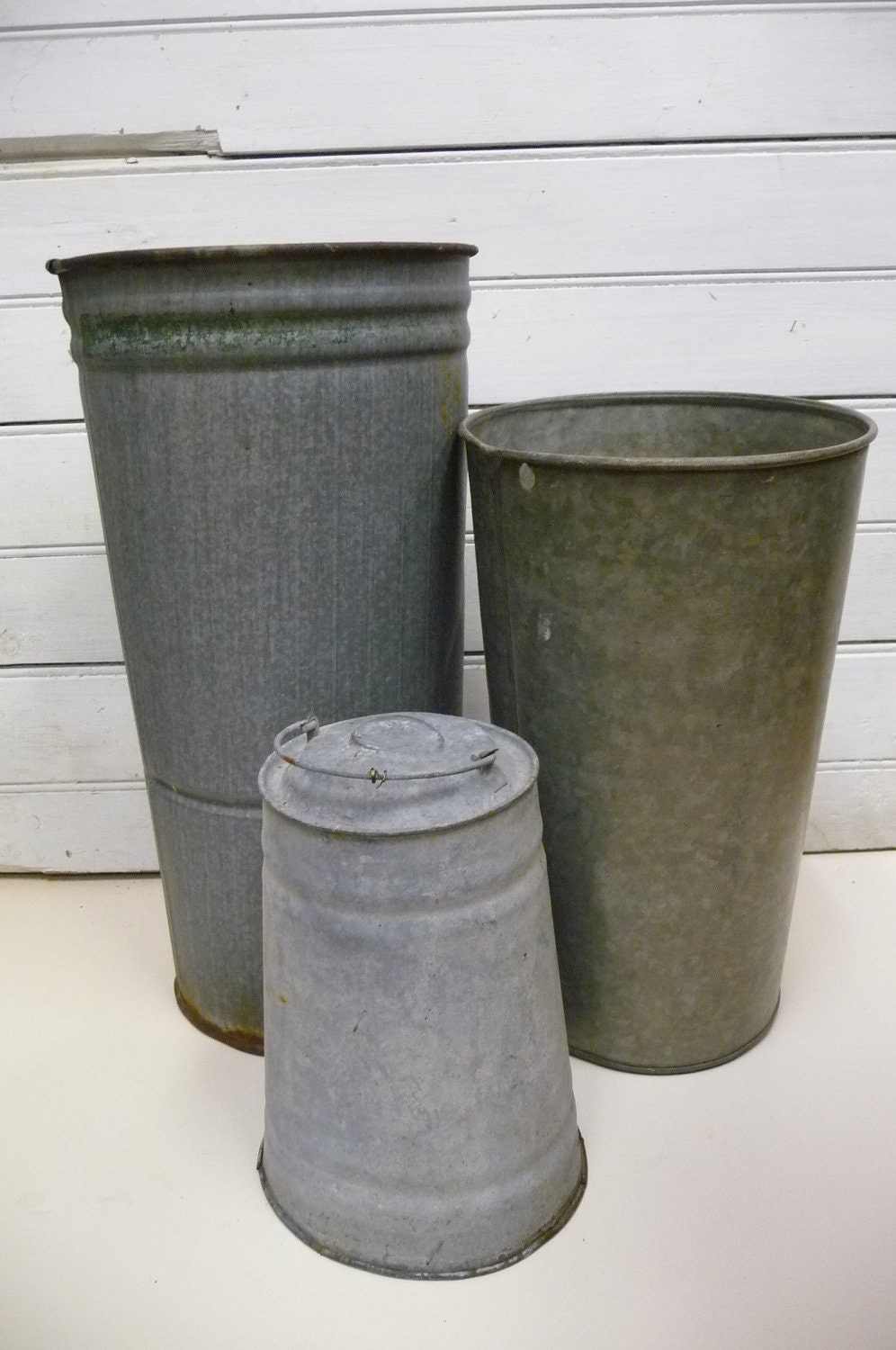 3 sap buckets vintage galvanized metal farmhouse three