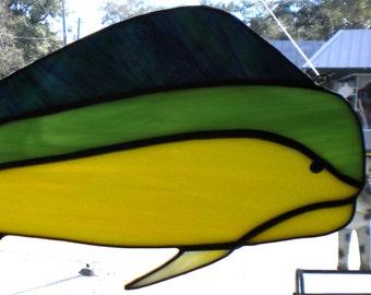 Mahi Mahi - Dolphin Fish Stained Glass Suncatcher