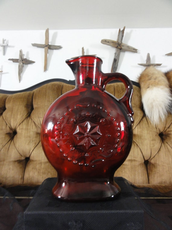 Vampire Blood Red Glass Gothic Decanter Red Bottle with Textured Embossed Star Design