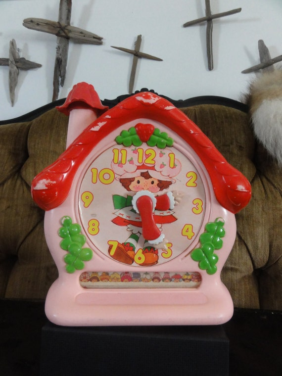Strawberry Shortcake Toy Clock Vintage Original Strawberry Shortcake Doll Toy Clock Learning to Tell Time Educational Toy Vintage