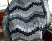 Bargello Black and Gray batik quilted wall hanging or lap sofa  throw