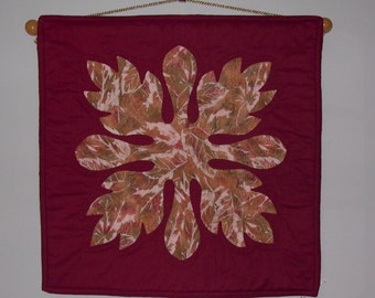 Hawaiin style Quilt Hand Appliqued and hand quilted Fall leaves wall hanging with gold cord for hanging