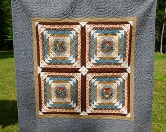 French Renaissance  Quilt Wall hanging quilt Hand pieced and hand quilted  in blue