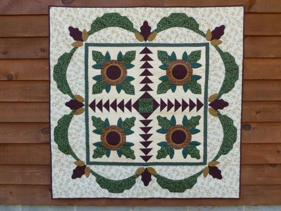 Reserved for Carol Knapp Christmas Quilt Folk Flower  hand appliqued Wall hanging or table topper