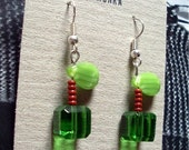 Squared Granny Smith Apple - Glass Earrings